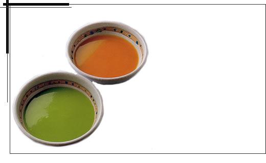 豆のスープとかぼちゃのスープ